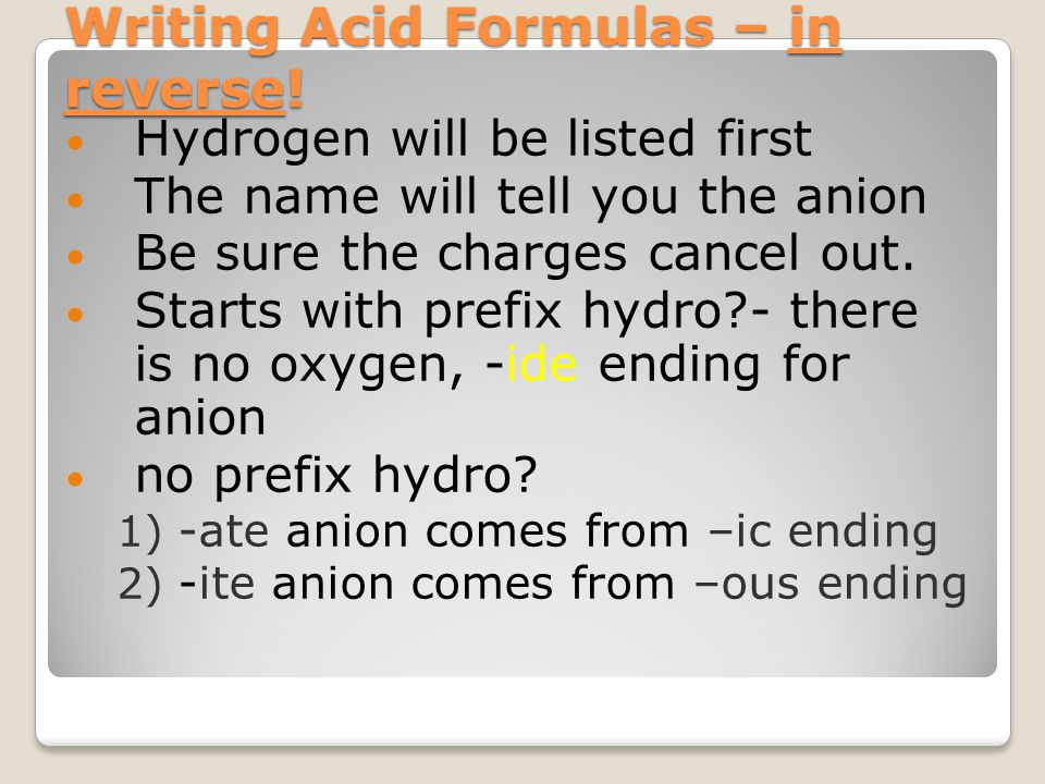 Writing Acid Formulas – in reverse!