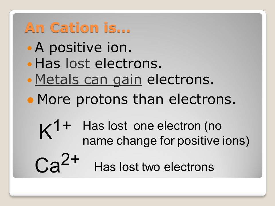 K1+ Ca2+ An Cation is… A positive ion. Has lost electrons.