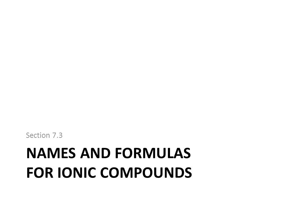 Names and formulas for ionic compounds