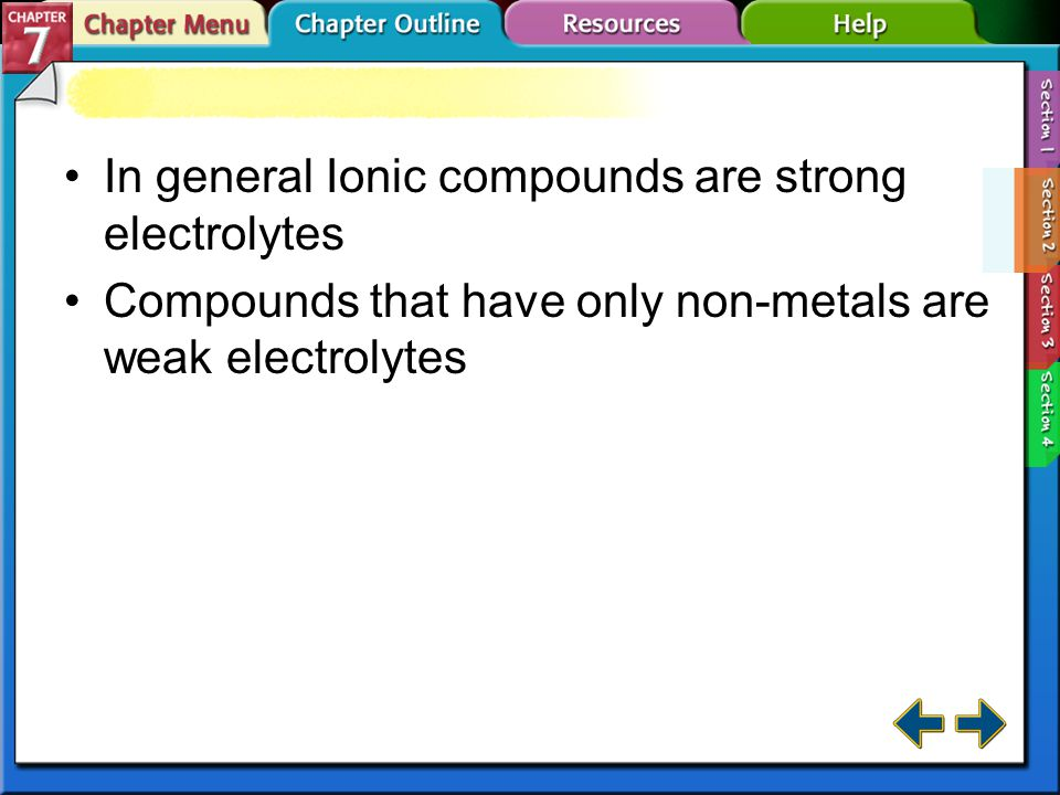 In general Ionic compounds are strong electrolytes