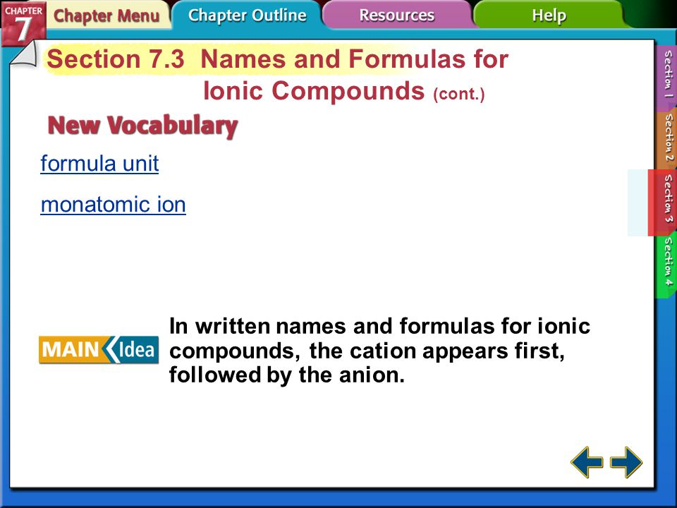 Section 7.3 Names and Formulas for Ionic Compounds (cont.)