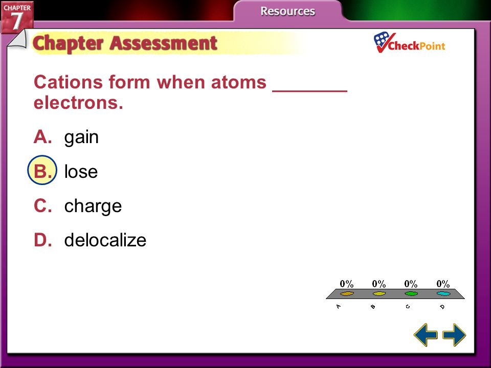 A B C D Cations form when atoms _______ electrons. A. gain B. lose