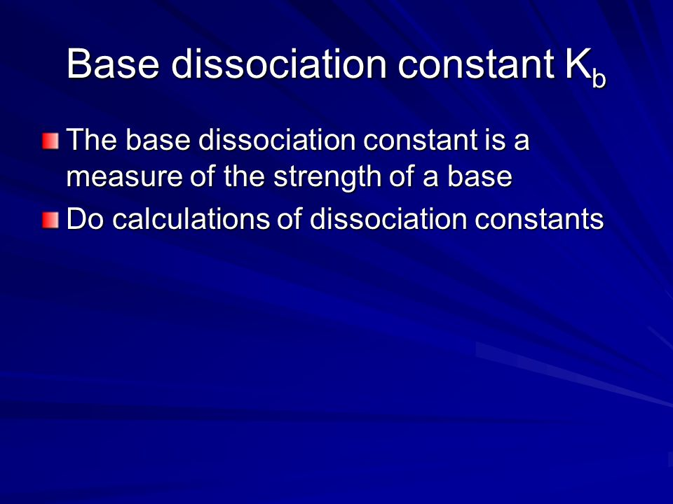 Base dissociation constant Kb