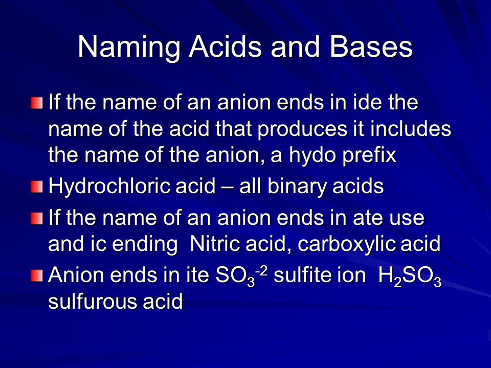Naming Acids and Bases If the name of an anion ends in ide the name of the acid that produces it includes the name of the anion, a hydo prefix.