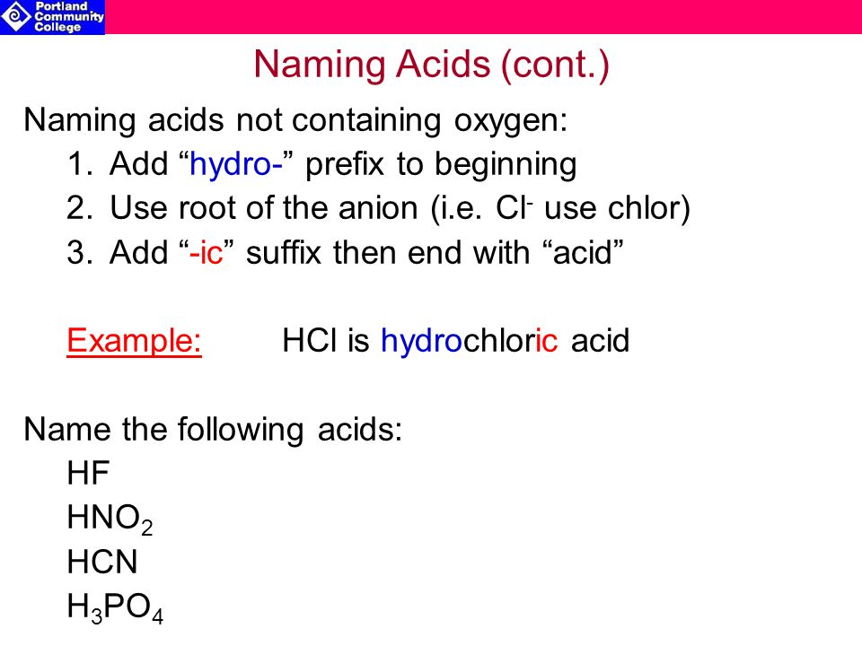 Naming Acids (cont.) Naming acids not containing oxygen: