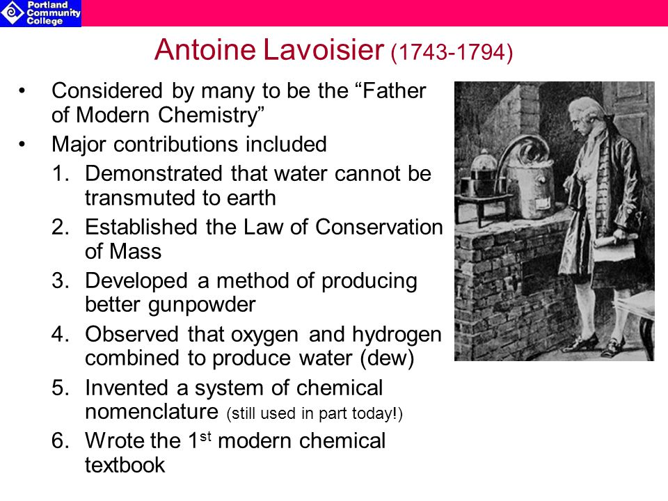 Antoine Lavoisier (1743-1794) Considered by many to be the Father of Modern Chemistry Major contributions included.