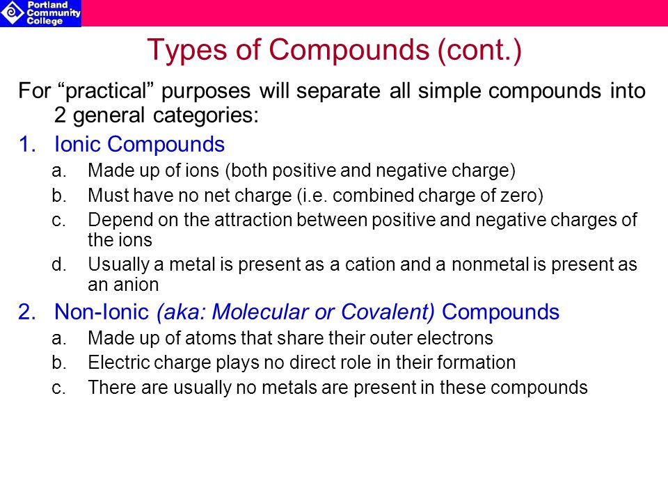 Types of Compounds (cont.)