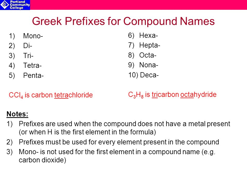 Greek Prefixes for Compound Names