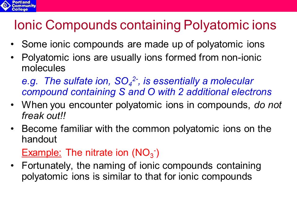 Ionic Compounds containing Polyatomic ions