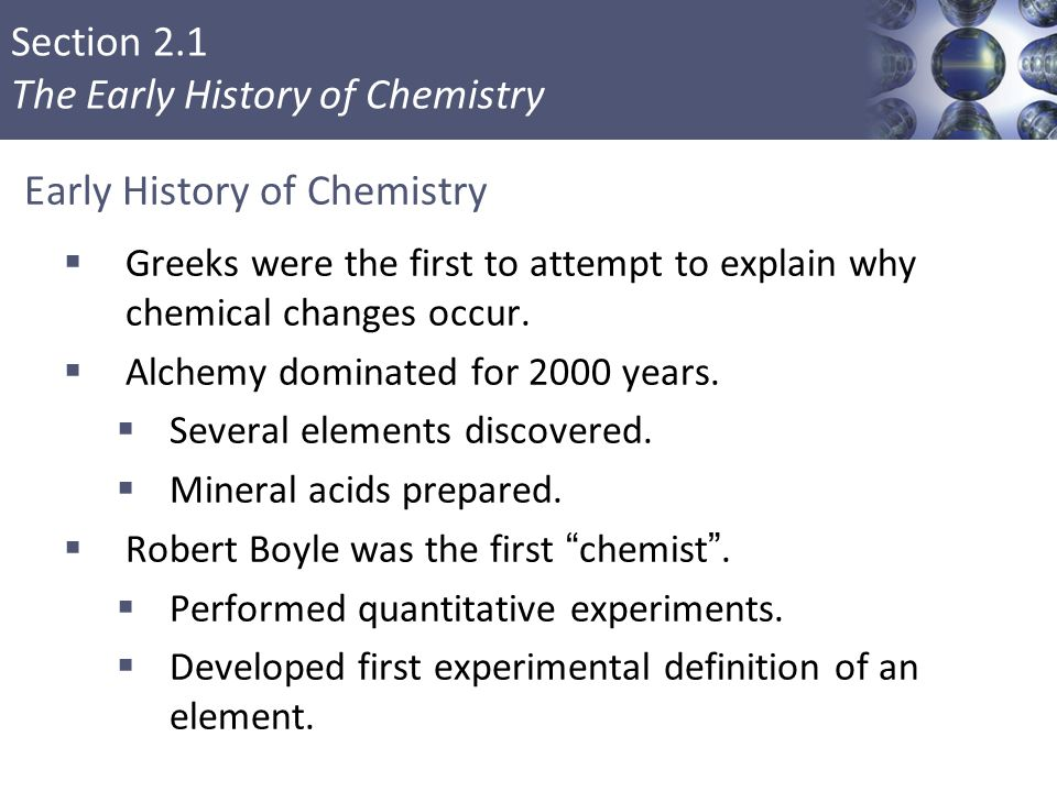 Early History of Chemistry