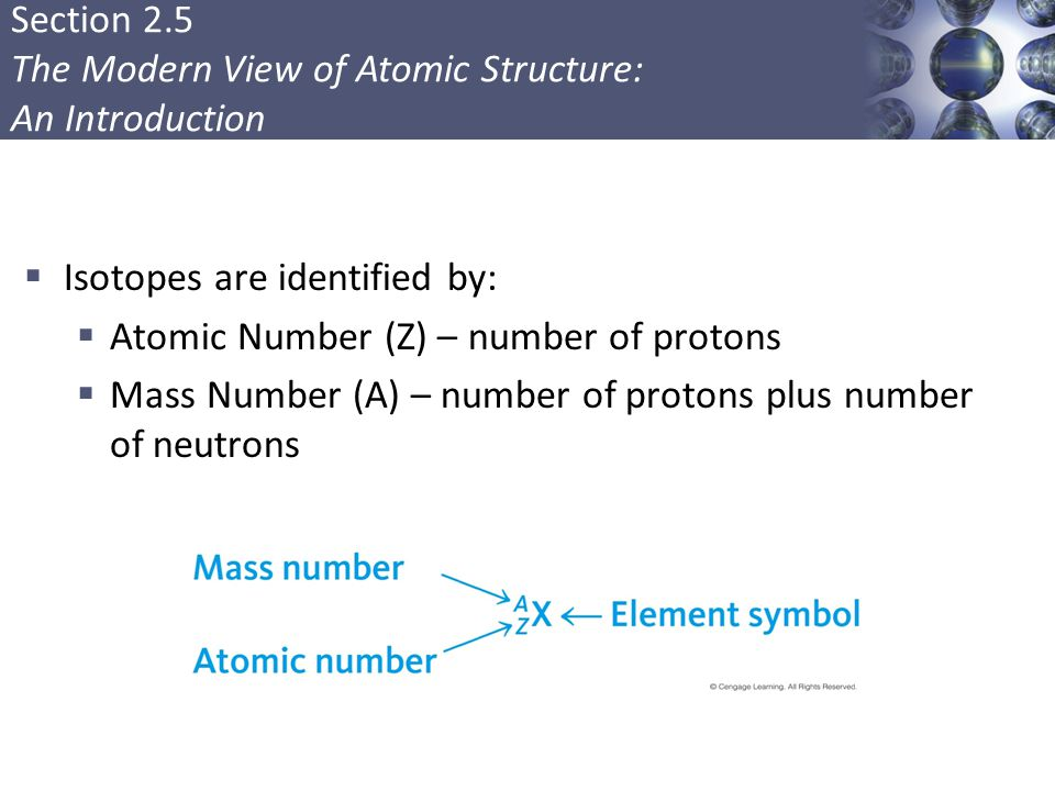 Isotopes are identified by: Atomic Number (Z) – number of protons