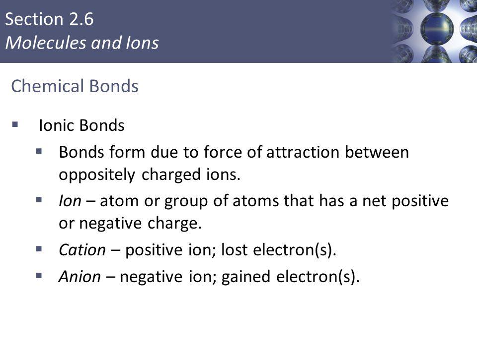 Chemical Bonds Ionic Bonds