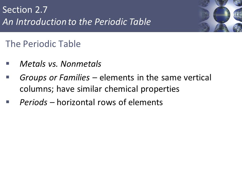 The Periodic Table Metals vs. Nonmetals