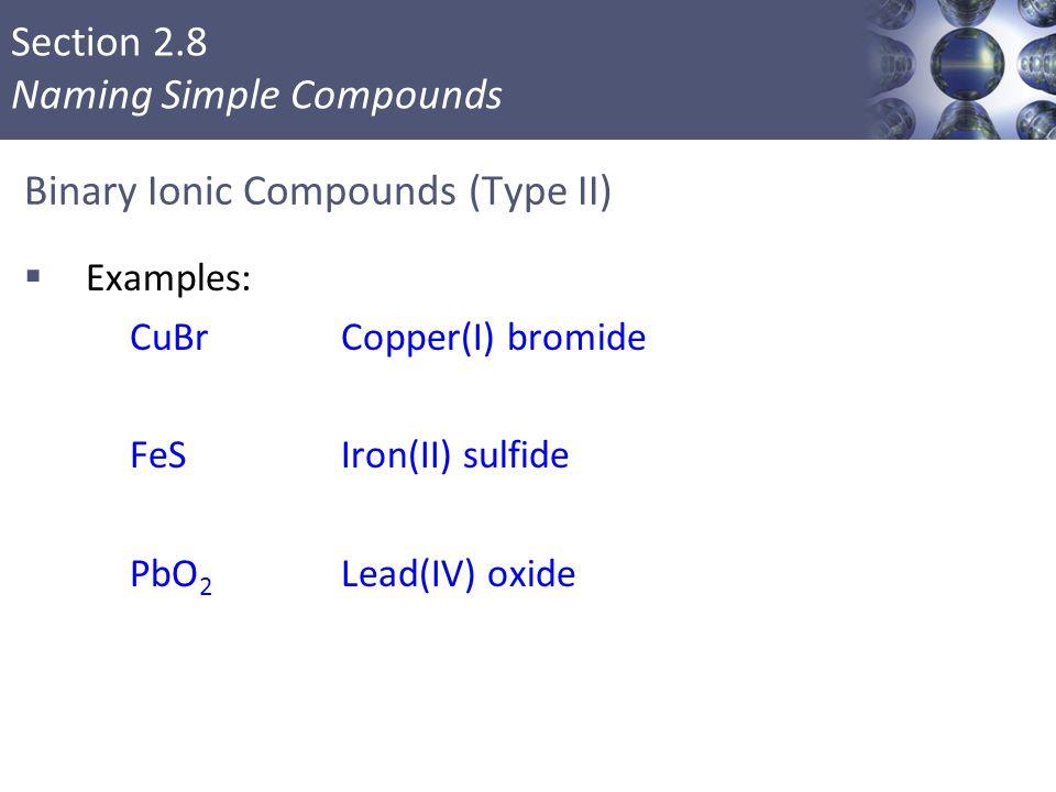 Binary Ionic Compounds (Type II)