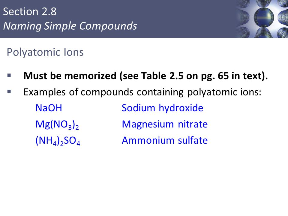 Polyatomic Ions Must be memorized (see Table 2.5 on pg. 65 in text).