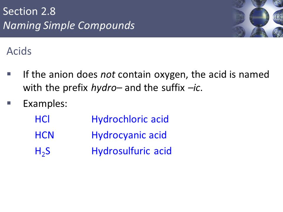 Acids If the anion does not contain oxygen, the acid is named with the prefix hydro– and the suffix –ic.
