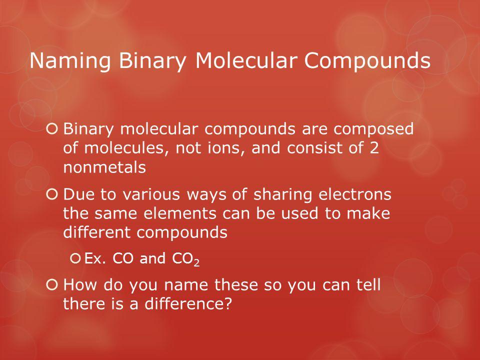 Naming Binary Molecular Compounds