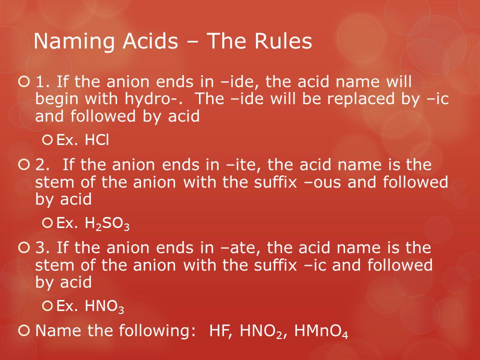 Naming Acids – The Rules
