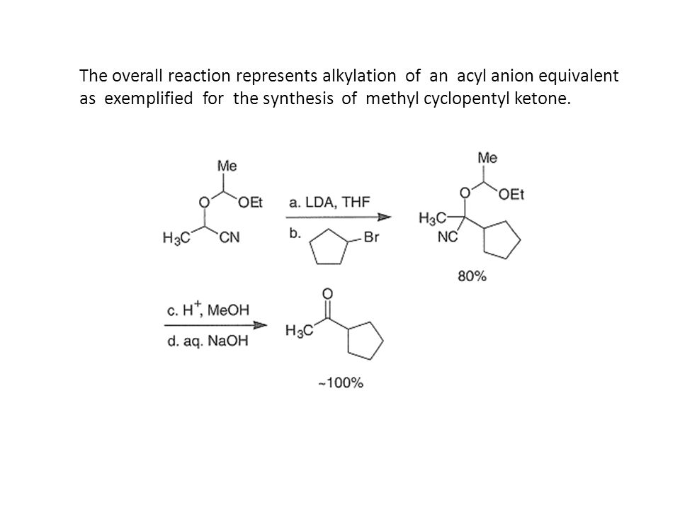 The overall reaction represents alkylation of an acyl anion equivalent as exemplified for the synthesis of methyl cyclopentyl ketone.