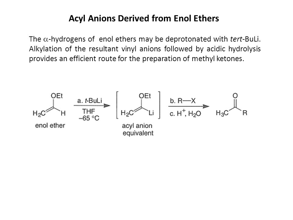 Acyl Anions Derived from Enol Ethers