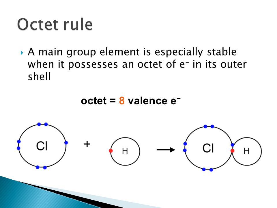 Octet rule octet = 8 valence e−