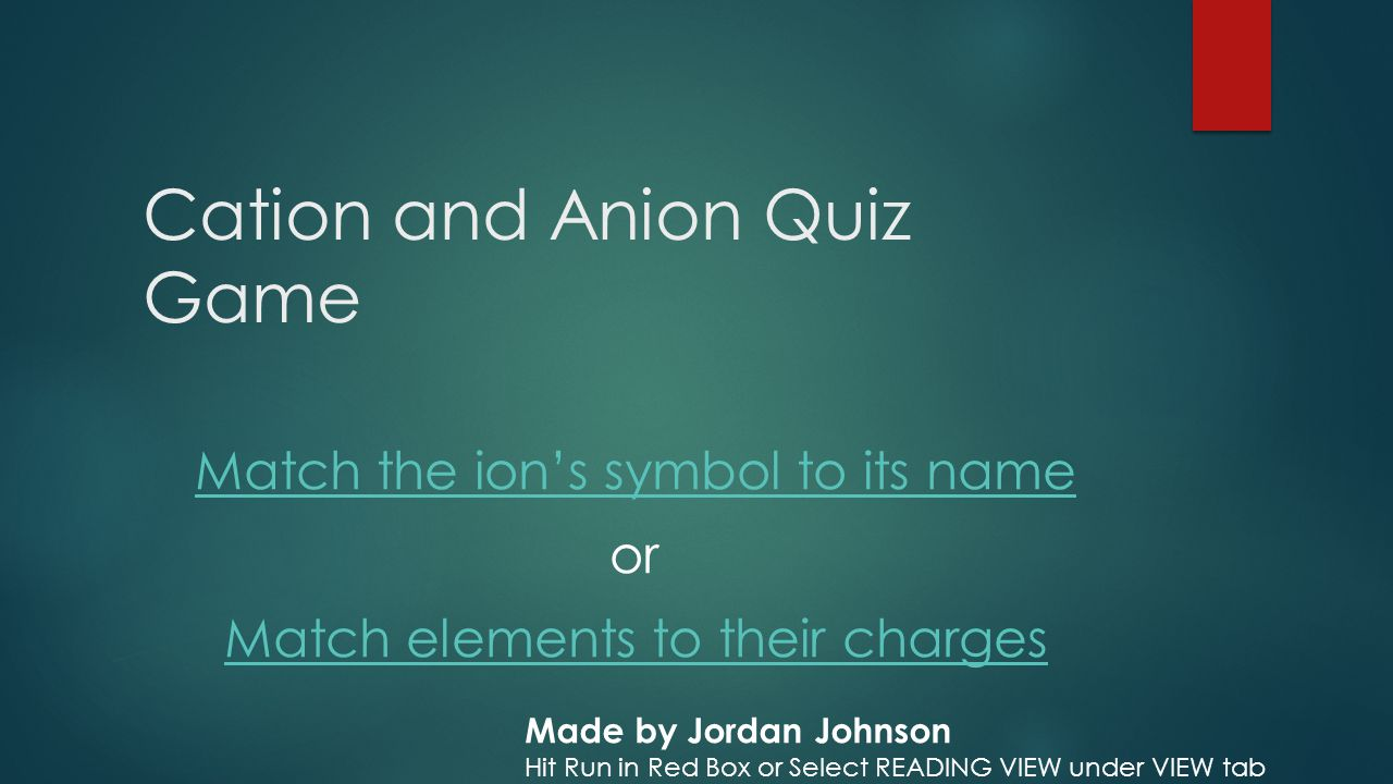 Cation and anion quiz game ppt video online download cation and anion quiz game gamestrikefo Images
