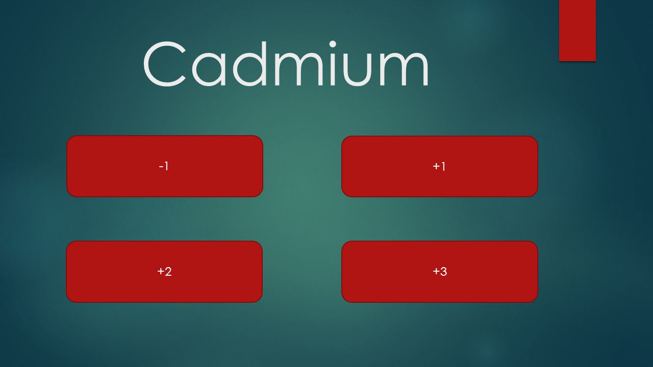 Cadmium -1 +1 +2 +3