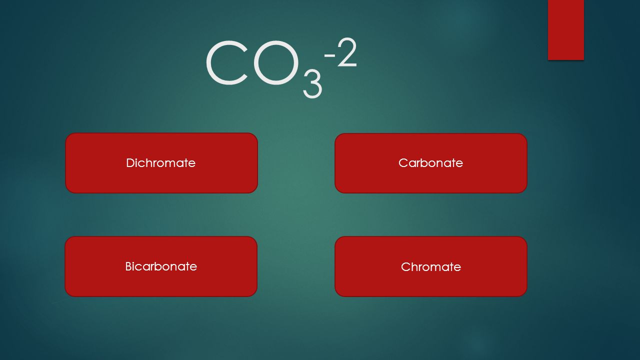 CO3-2 Dichromate Carbonate Bicarbonate Chromate