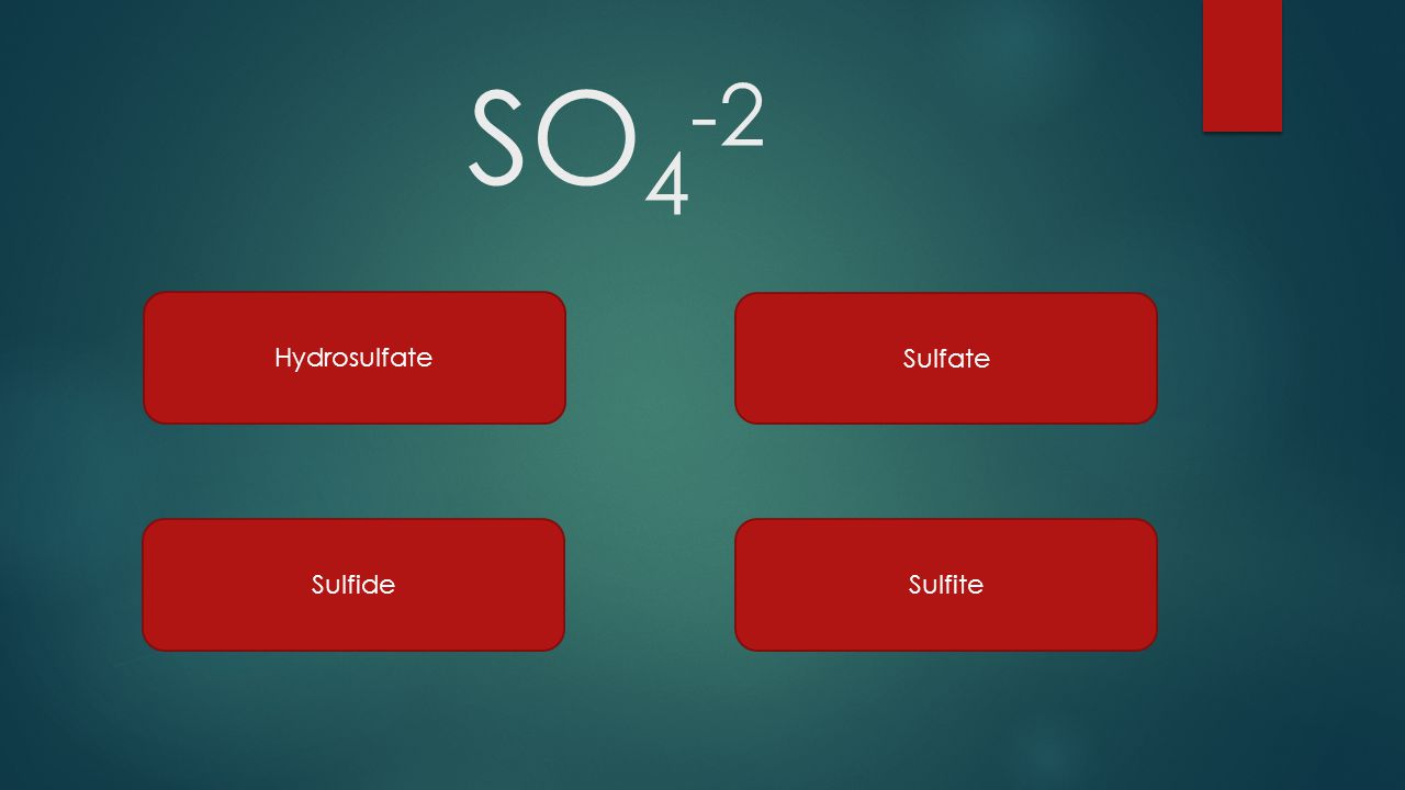 Cation and anion quiz game ppt video online download 66 so4 2 hydrosulfate sulfate sulfide sulfite gamestrikefo Gallery