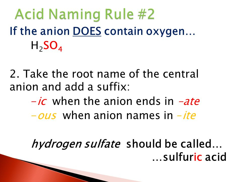 Acid Naming Rule #2