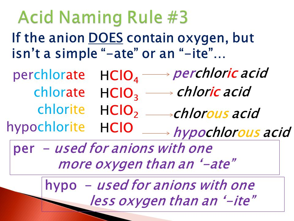 Acid Naming Rule #3 If the anion DOES contain oxygen, but isn't a simple -ate or an -ite … perchlorate.