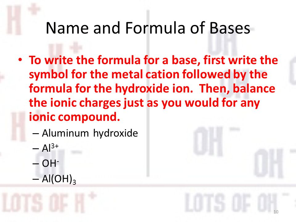 Name and Formula of Bases