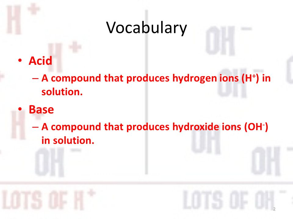 Vocabulary Acid. A compound that produces hydrogen ions (H+) in solution.