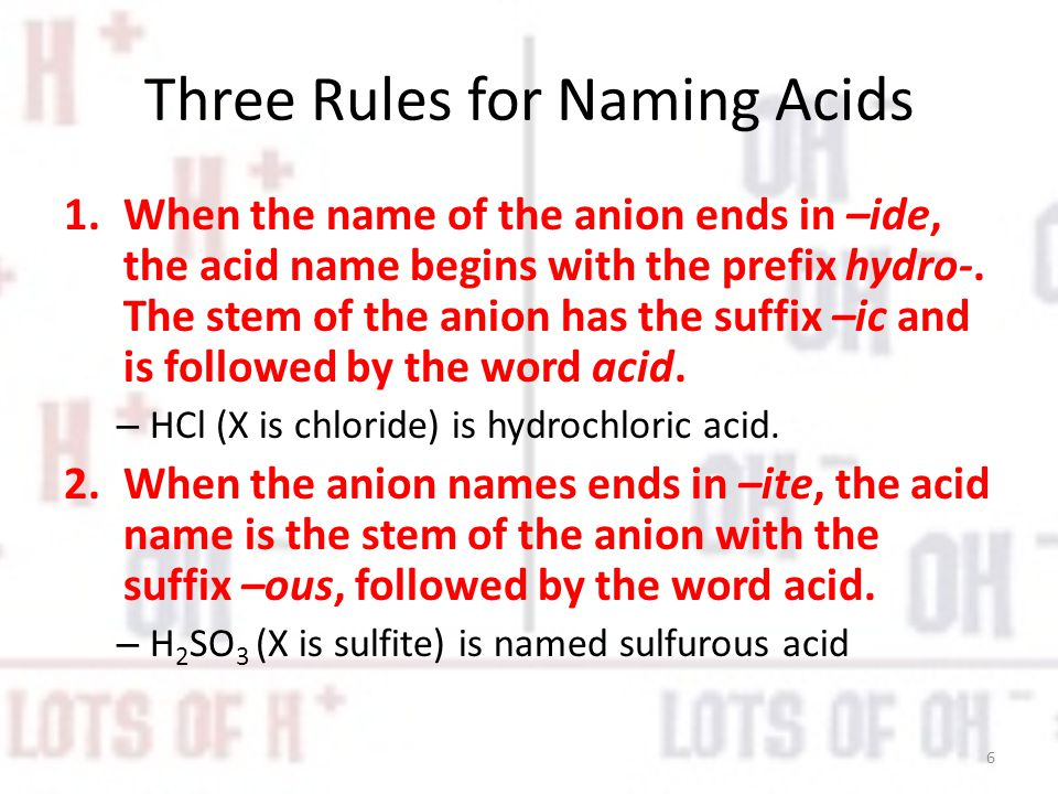 Three Rules for Naming Acids
