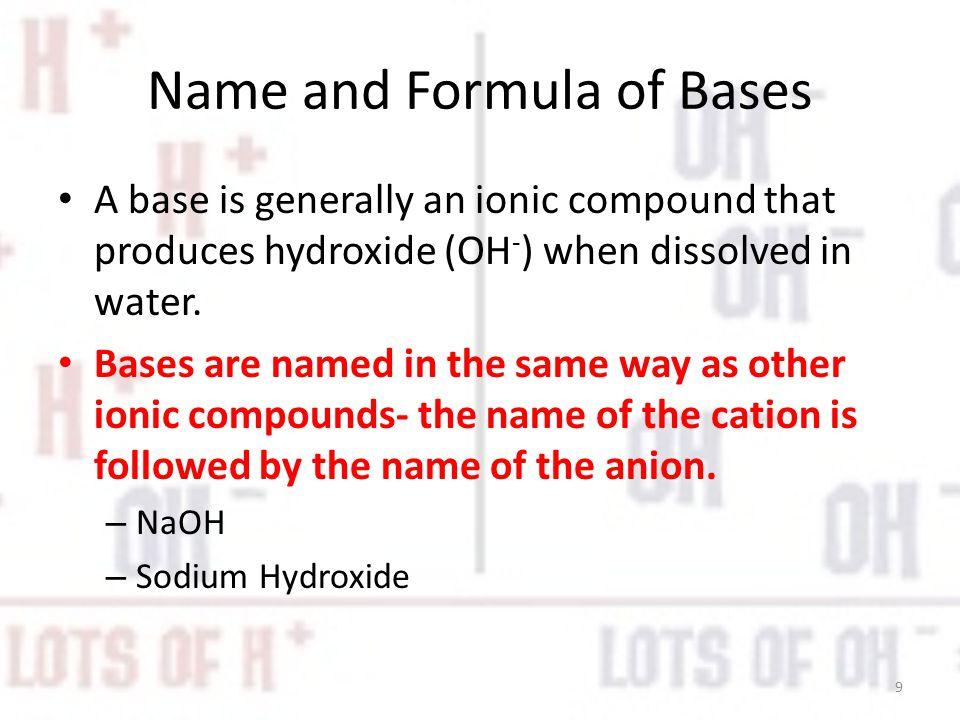 Name and Formula of Bases