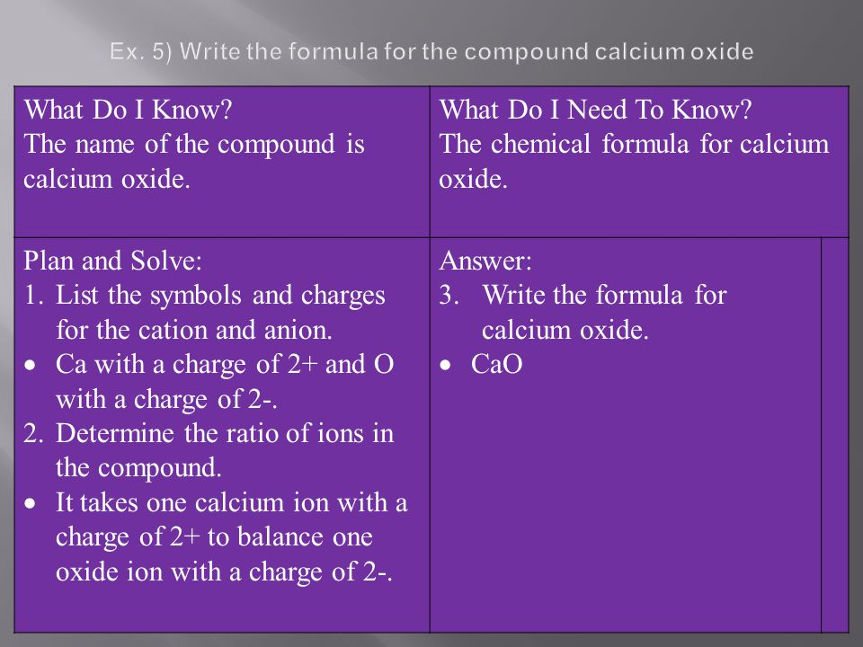 Ex. 5) Write the formula for the compound calcium oxide