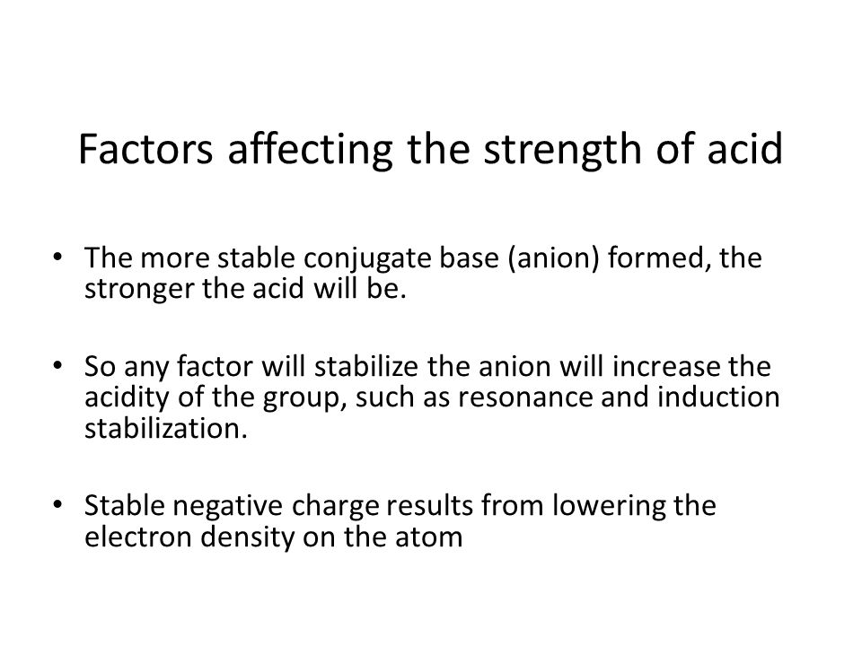 Factors affecting the strength of acid