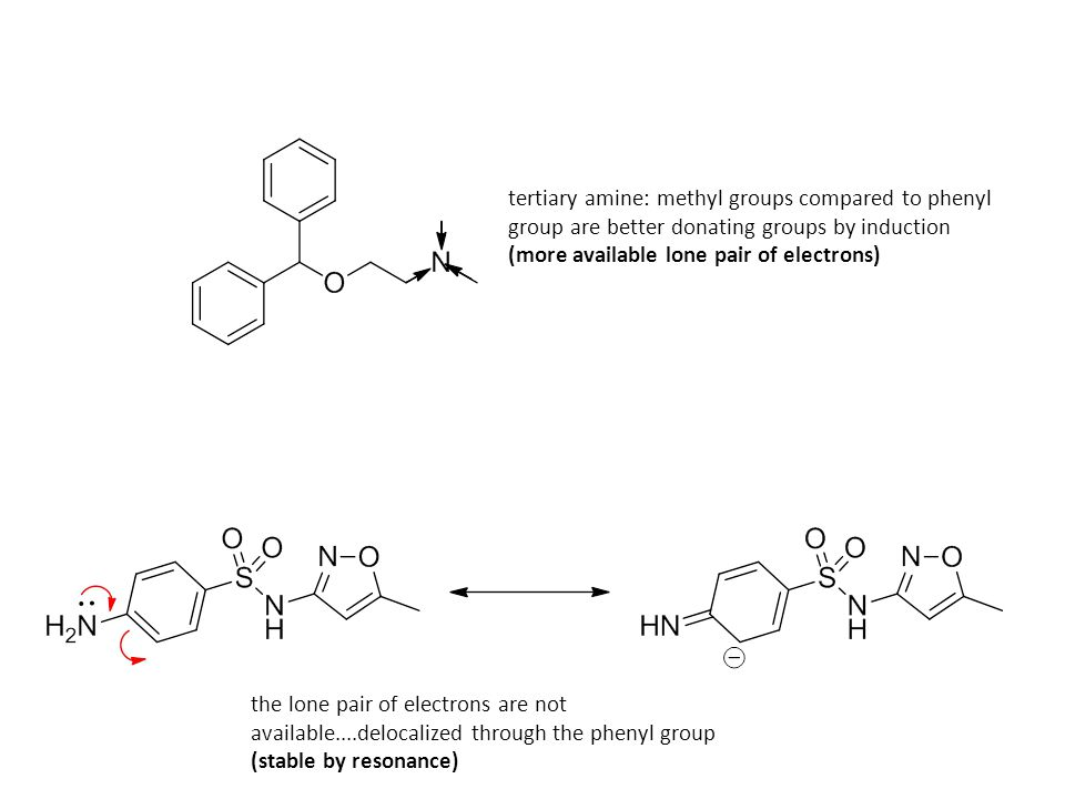 tertiary amine: methyl groups compared to phenyl group are better donating groups by induction
