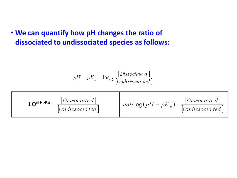 We can quantify how pH changes the ratio of dissociated to undissociated species as follows: