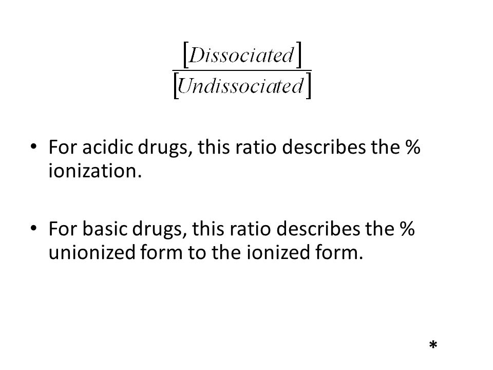 For acidic drugs, this ratio describes the % ionization.