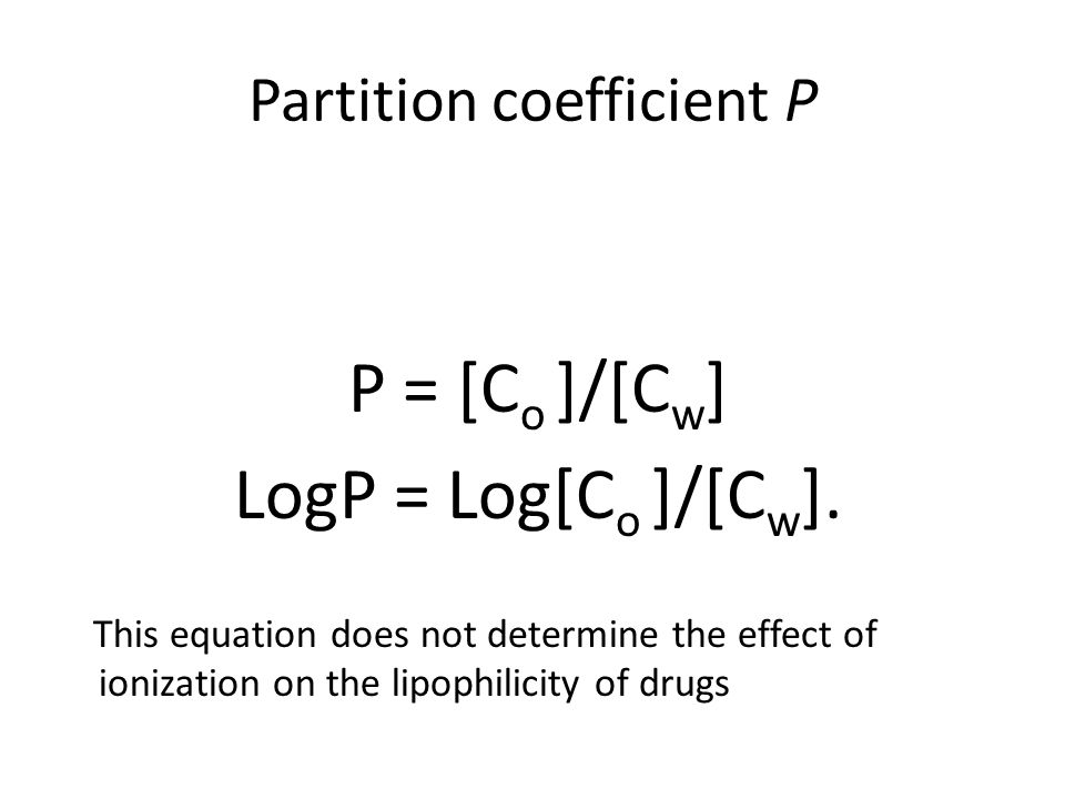 Partition coefficient P