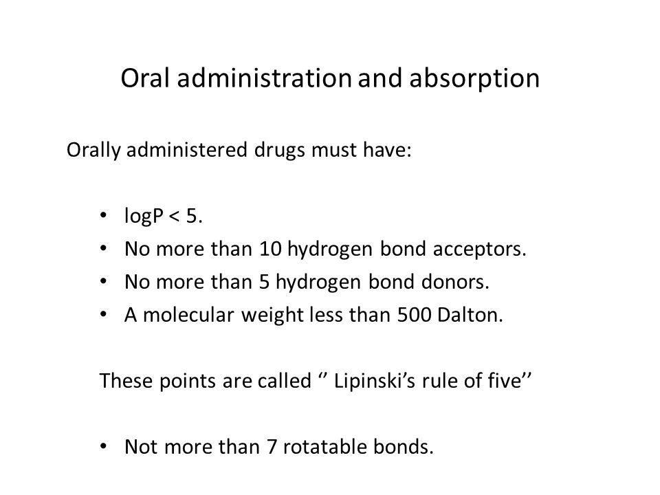 Oral administration and absorption