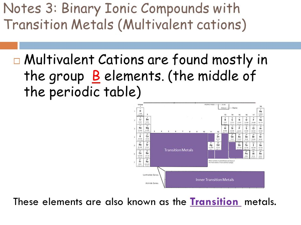 Notes 3: Binary Ionic Compounds with Transition Metals (Multivalent cations)