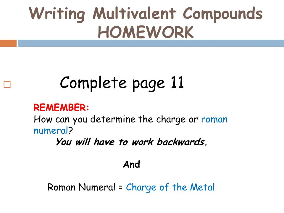 Writing Multivalent Compounds HOMEWORK