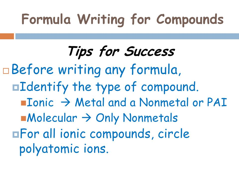 Formula Writing for Compounds