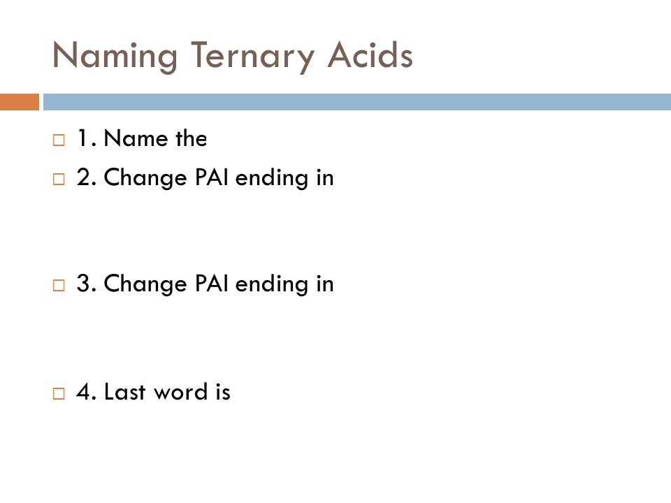 Naming Ternary Acids 1. Name the polyatomic ion.