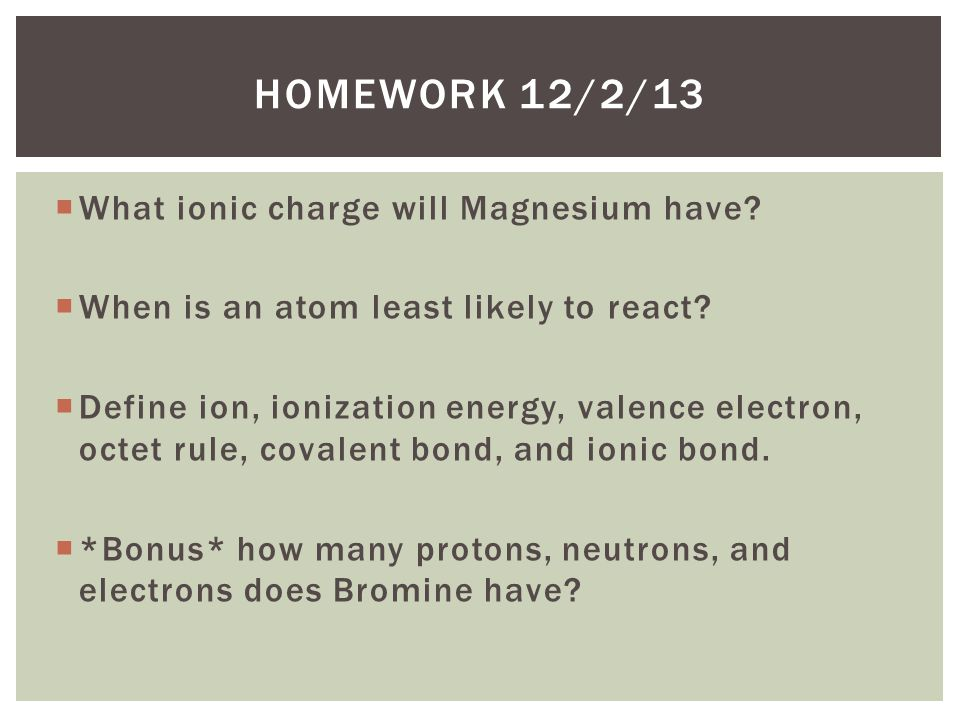 Homework 12/2/13 What ionic charge will Magnesium have