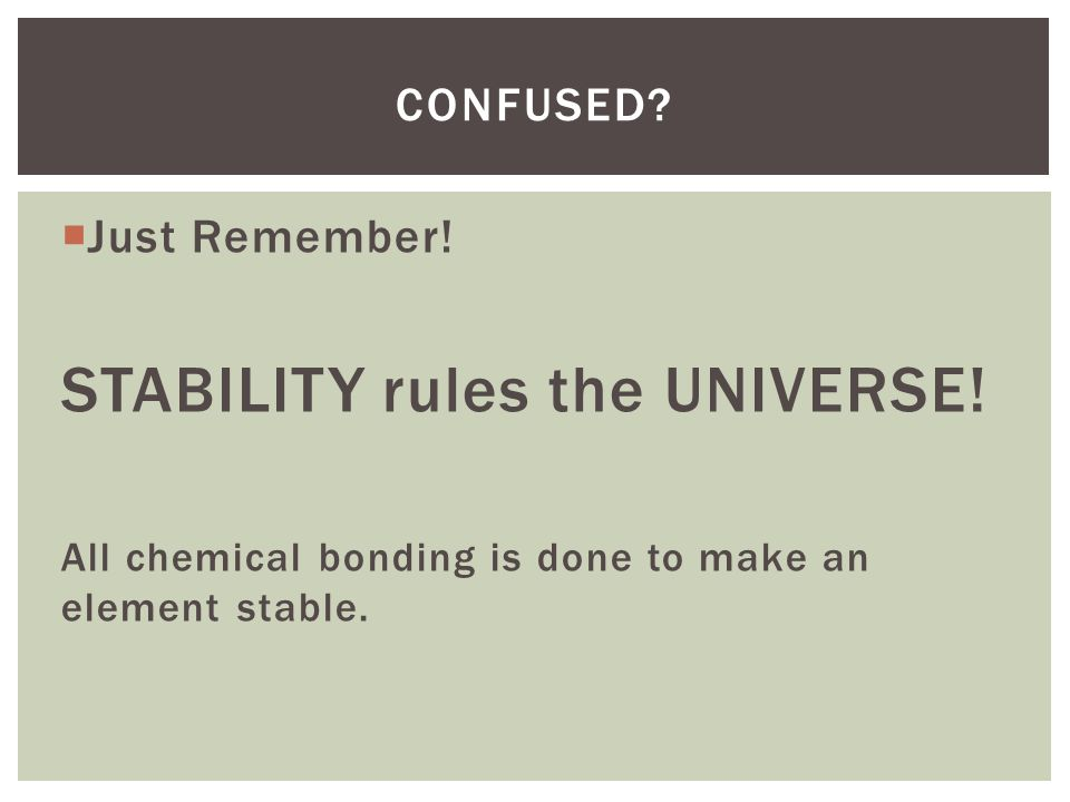 STABILITY rules the UNIVERSE!