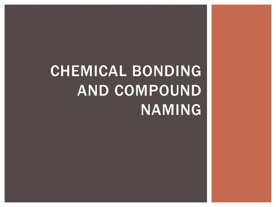 Chemical Bonding and compound naming
