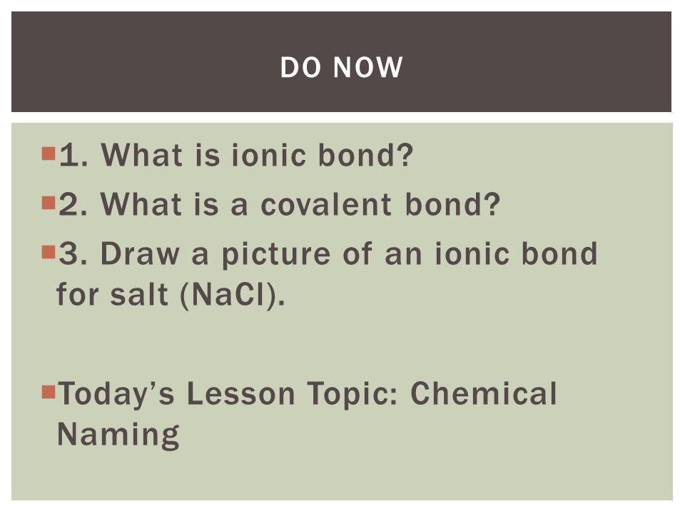 3. Draw a picture of an ionic bond for salt (NaCl).